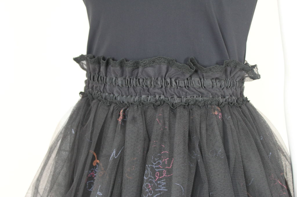 Zandra Rhodes 1980s Black Silk-Screened Confetti Tulle Skirt 8