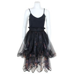 Zandra Rhodes 1980s Black Silk-Screened Confetti Tulle Skirt
