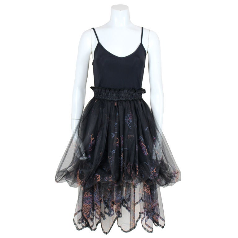 Zandra Rhodes 1980s Black Silk-Screened Confetti Tulle Skirt 1