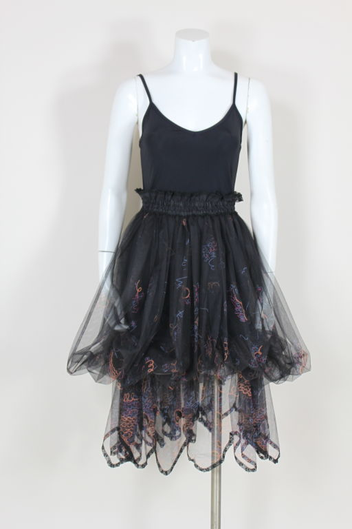 Zandra Rhodes 1980s Black Silk-Screened Confetti Tulle Skirt 10