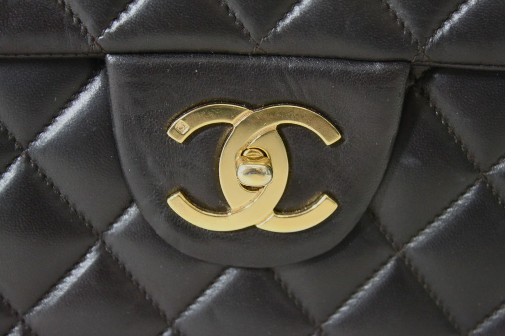CHANEL Chocolate Brown Quilted Handbag 2