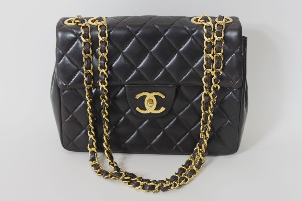 CHANEL Chocolate Brown Quilted Handbag 3
