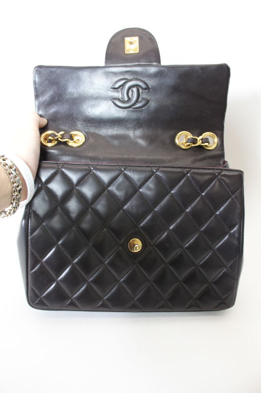 CHANEL Chocolate Brown Quilted Handbag 6
