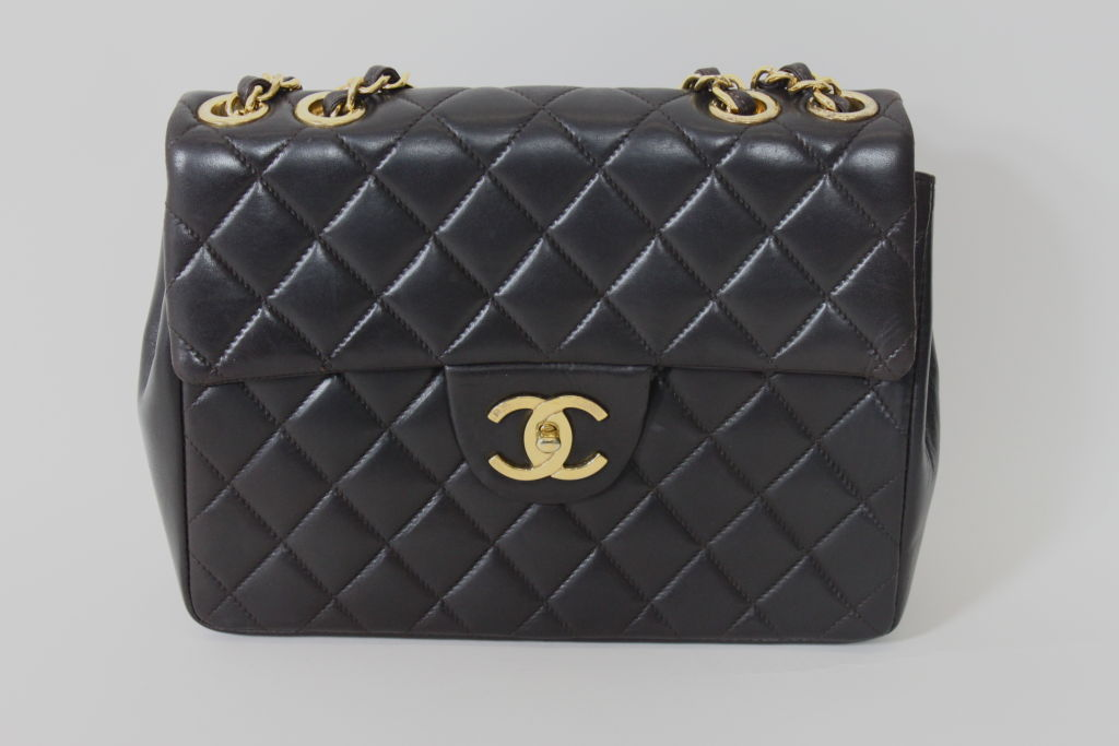 CHANEL Chocolate Brown Quilted Handbag 8