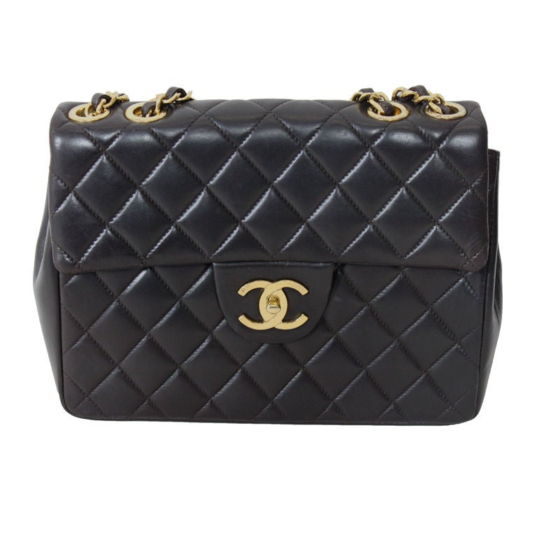 CHANEL Chocolate Brown Quilted Handbag 1