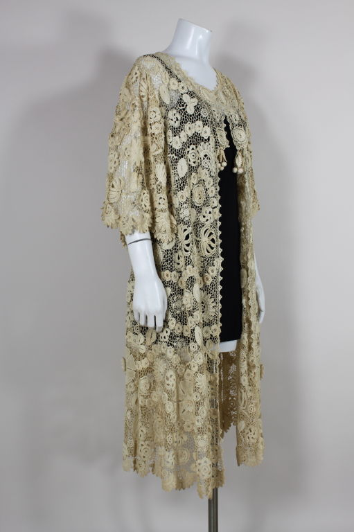 Edwardian Irish Crochet Cotton Lace Jacket For Sale At 1stdibs
