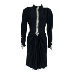 Lagerfeld for Chloe 1980s Silk Crepe & Crystal Party Dress