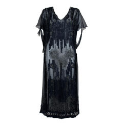1920s Sheer Navy Beaded Chiffon Party Dress