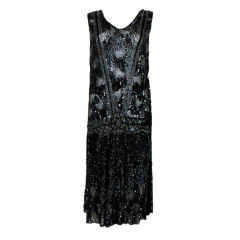 1920s Black Sequined Starburst Flapper Dress
