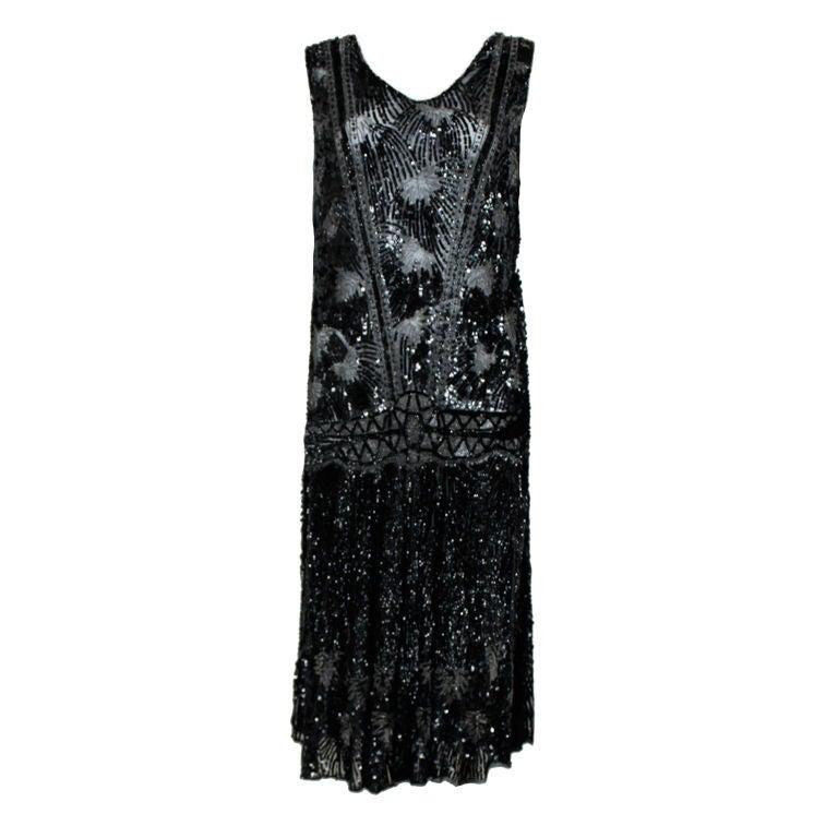1920s Black Sequined Starburst Flapper Dress 1
