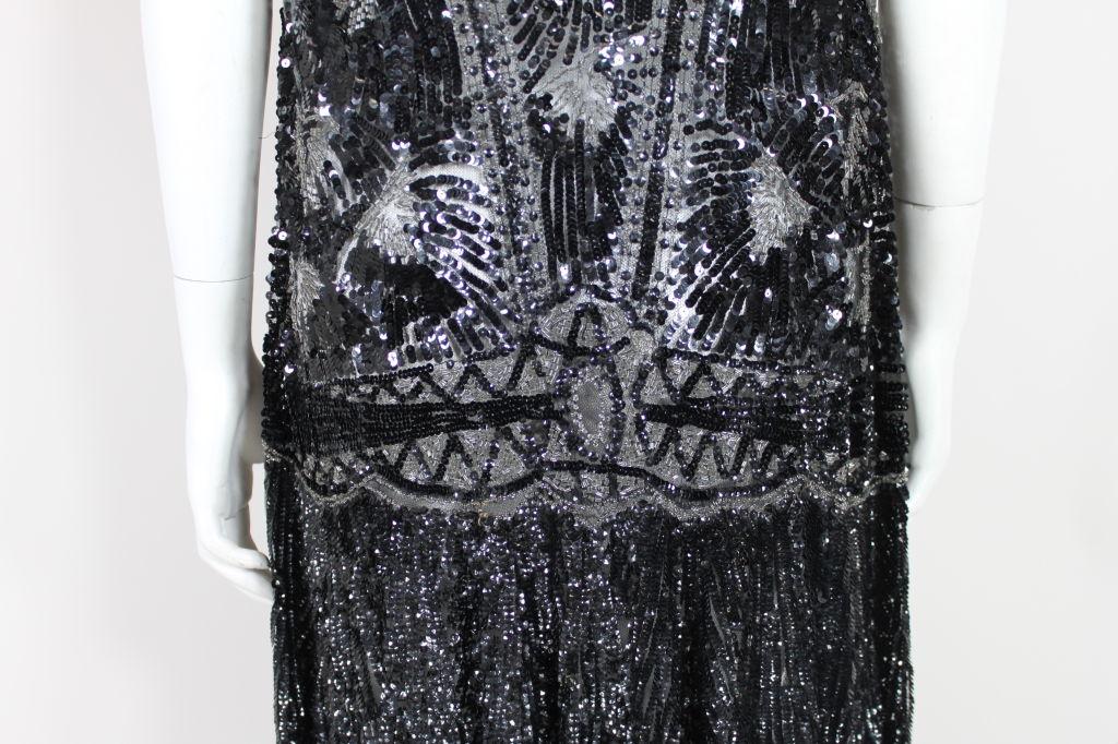 1920s Black Sequined Starburst Flapper Dress 10