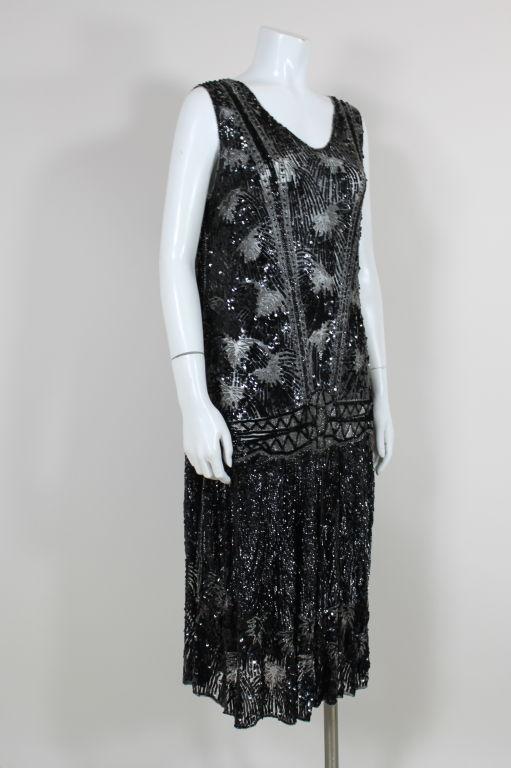 1920s Black Sequined Starburst Flapper Dress 3