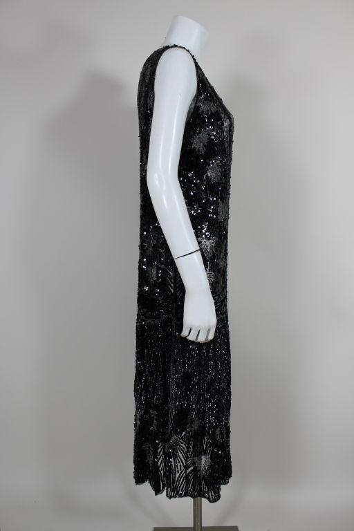 1920s Black Sequined Starburst Flapper Dress 4
