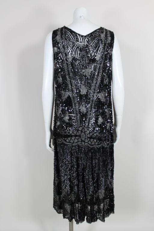 1920s Black Sequined Starburst Flapper Dress 5