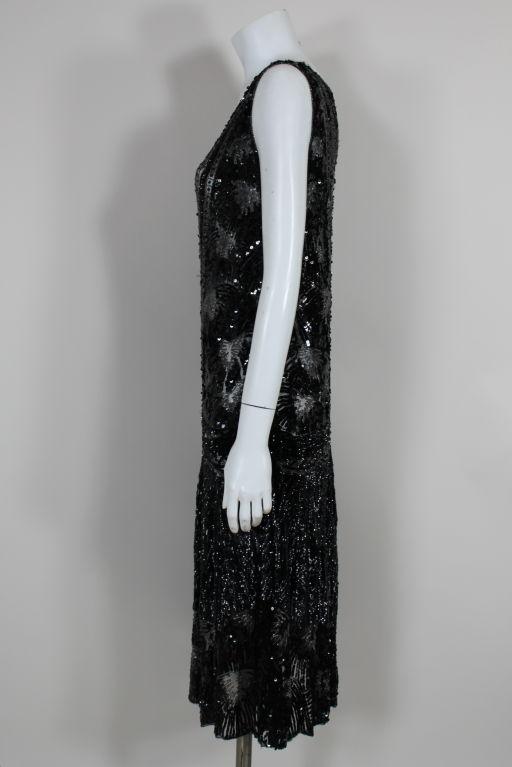 1920s Black Sequined Starburst Flapper Dress 6