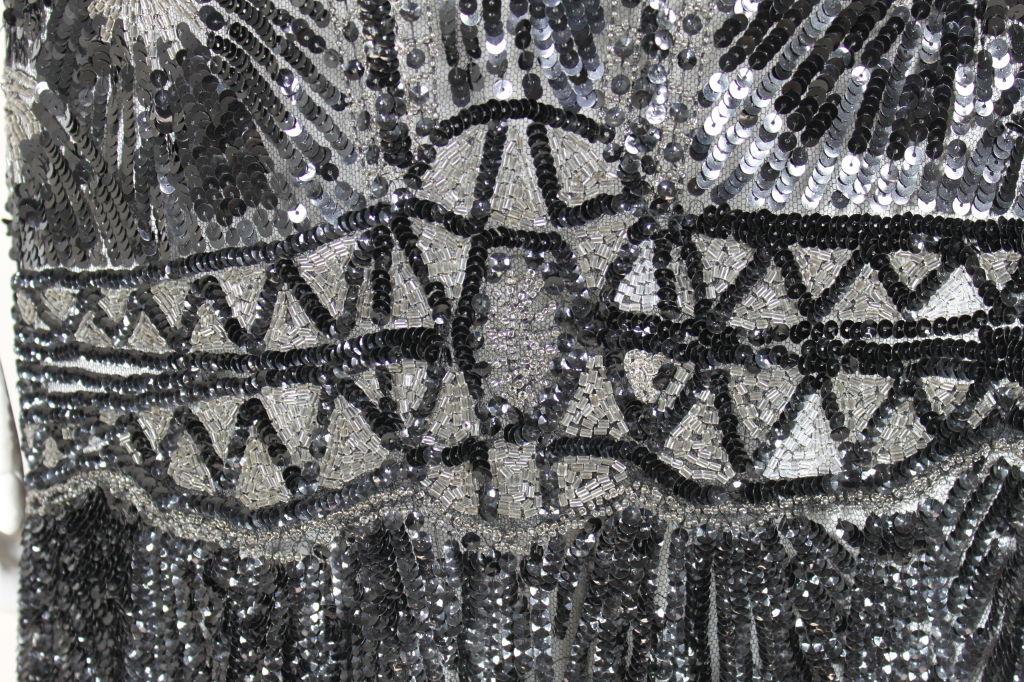 1920s Black Sequined Starburst Flapper Dress 7