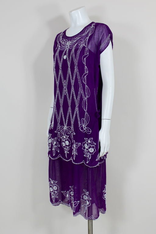 1920 S Beaded Purple Cotton Dress With Tunic At 1stdibs