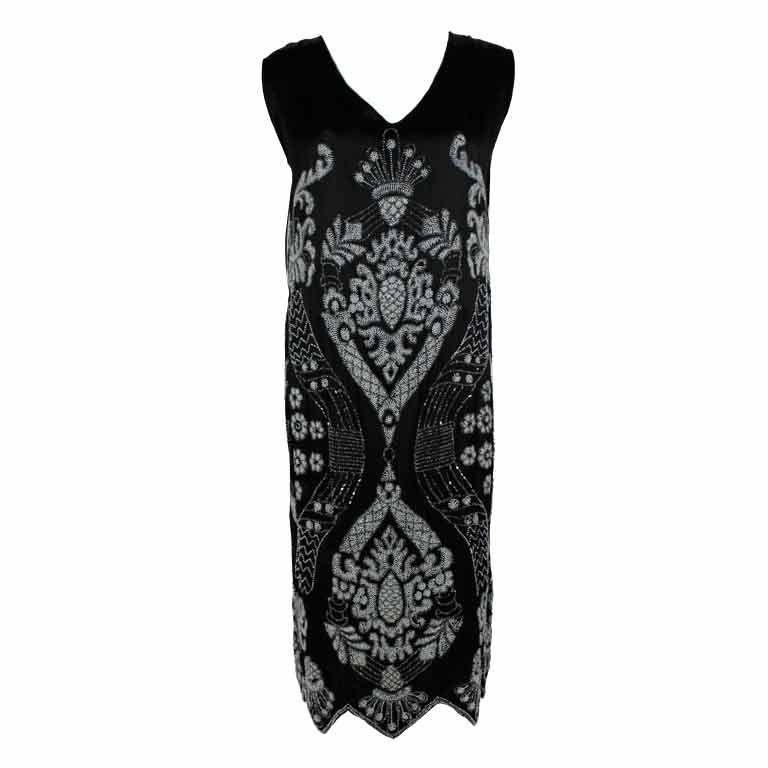 1920's Beaded Deco Floral Satin FlapperDress