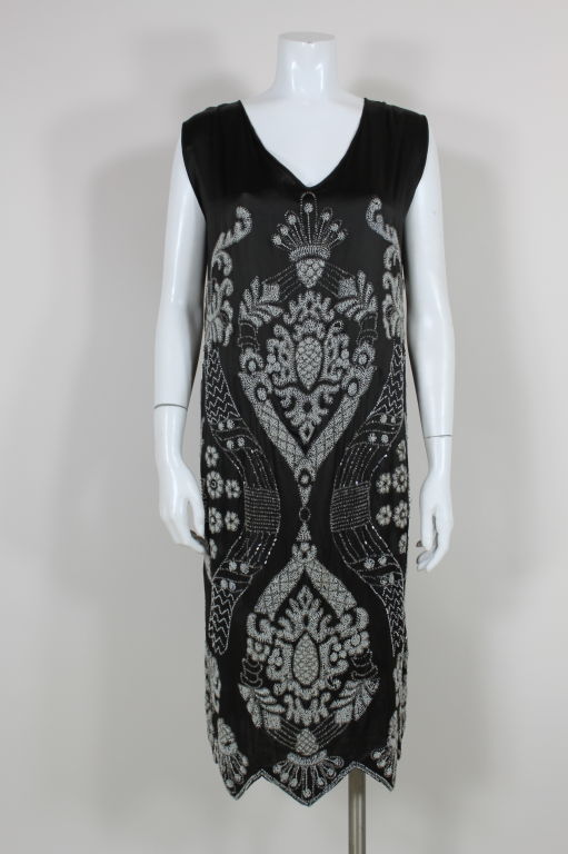 1920's Beaded Deco Floral Satin FlapperDress image 2