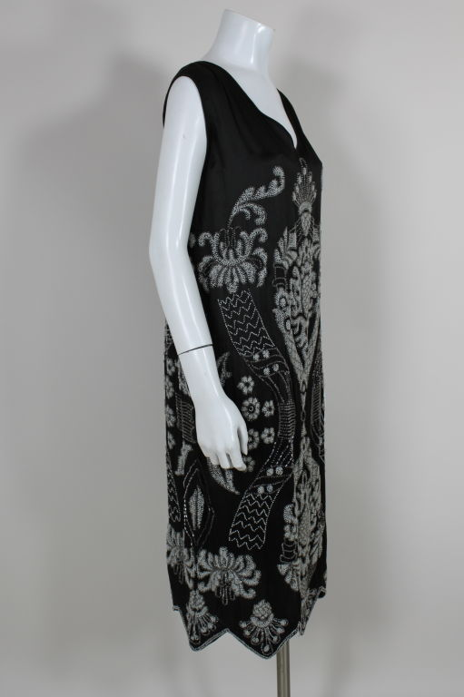 1920's Beaded Deco Floral Satin FlapperDress image 3
