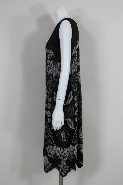 1920's Beaded Deco Floral Satin FlapperDress image 4