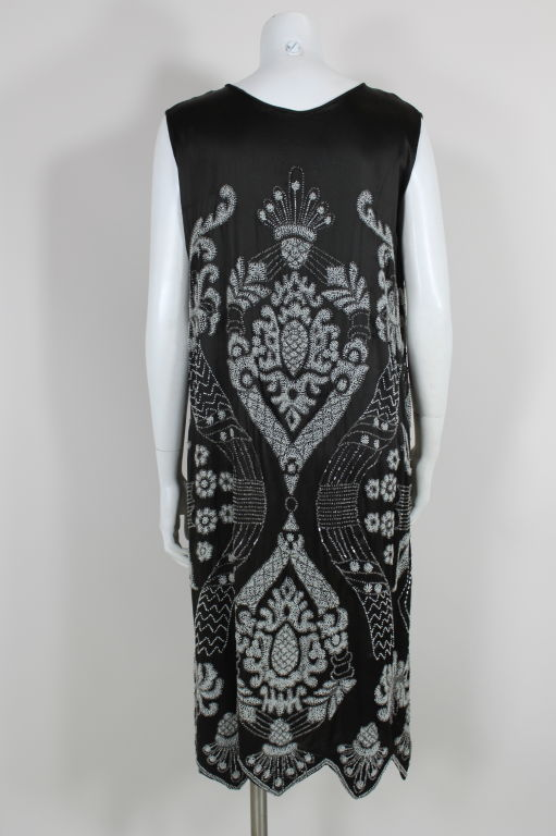 1920's Beaded Deco Floral Satin FlapperDress image 5