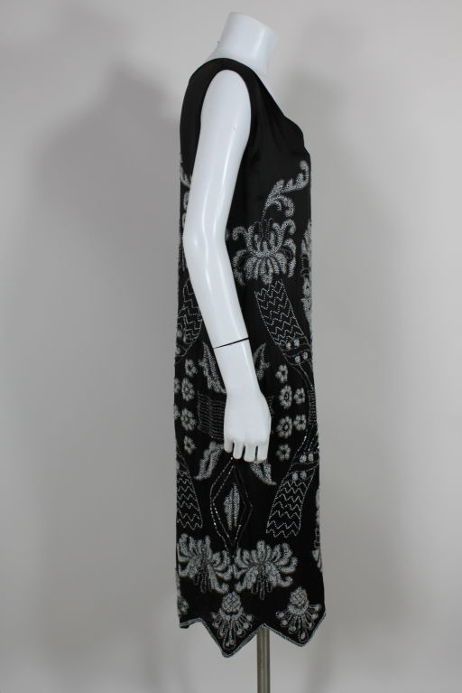 1920's Beaded Deco Floral Satin FlapperDress image 6