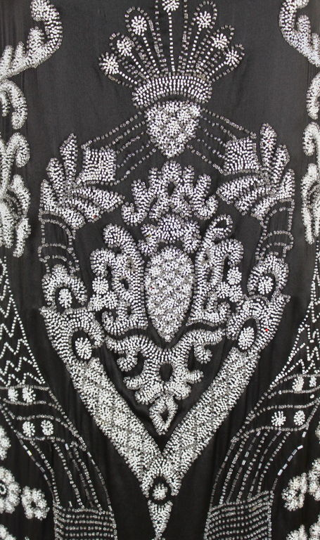 1920's Beaded Deco Floral Satin FlapperDress image 7