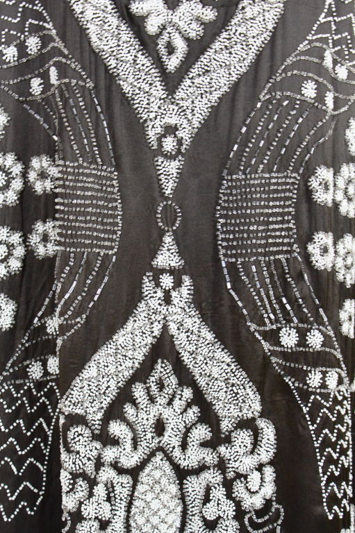 1920's Beaded Deco Floral Satin FlapperDress image 8