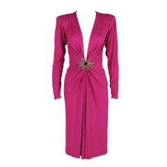 YSL Fuschia Jersey Cocktail Dress with Coral Medallion