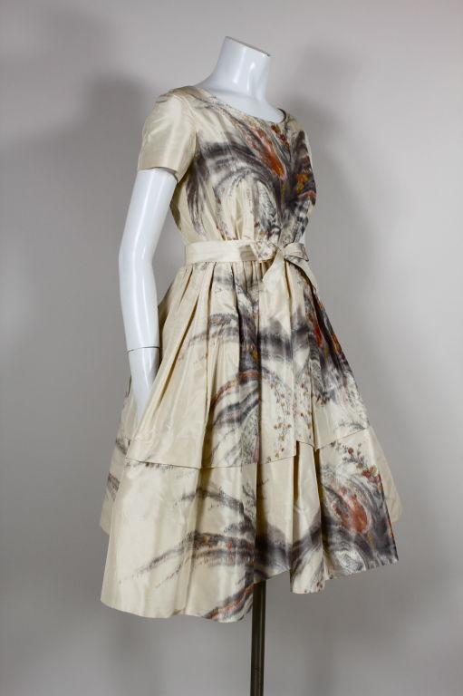 1950s Tassell Chiné Taffeta Cocktail Dress 2