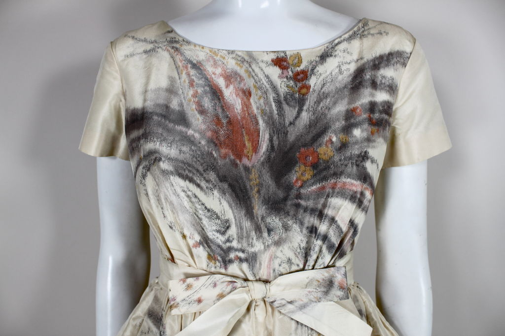 1950s Tassell Chiné Taffeta Cocktail Dress 5