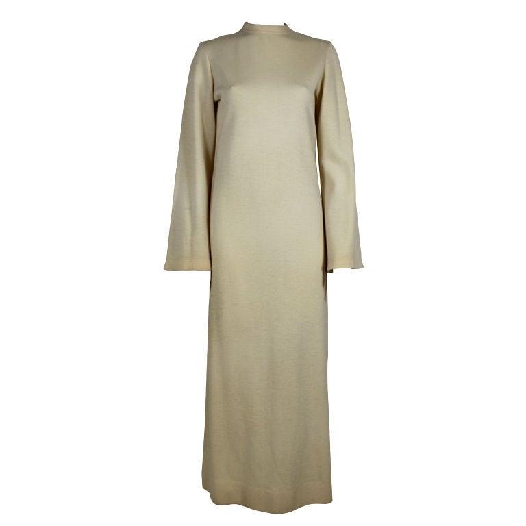 Rudi Gernreich 1960s Ivory Wool Knit Maxi Dress 1