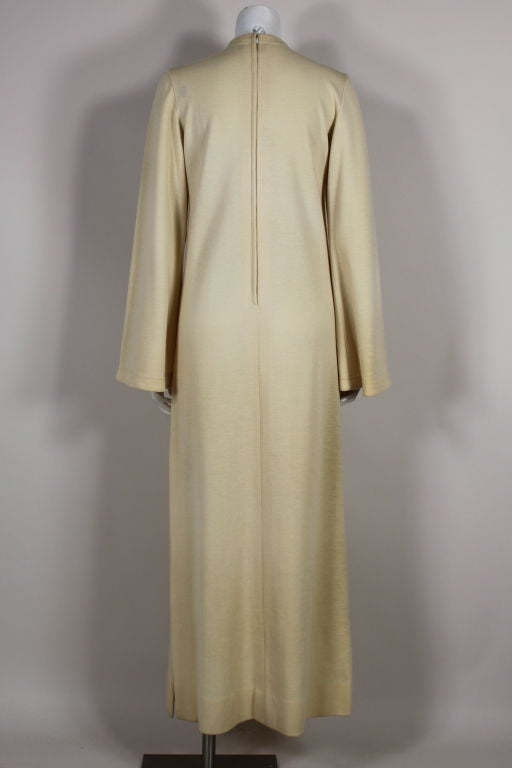 Brown Rudi Gernreich 1960s Ivory Wool Knit Maxi Dress For Sale