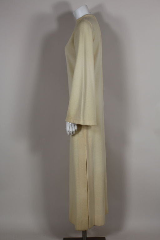 Rudi Gernreich 1960s Ivory Wool Knit Maxi Dress In Excellent Condition For Sale In Los Angeles, CA