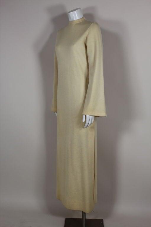 Rudi Gernreich 1960s Ivory Wool Knit Maxi Dress 5