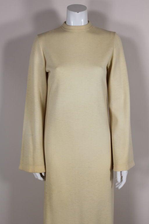 Rudi Gernreich 1960s Ivory Wool Knit Maxi Dress 6
