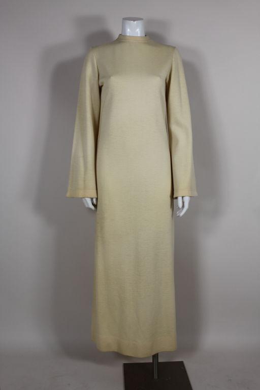 Rudi Gernreich 1960s Ivory Wool Knit Maxi Dress 8