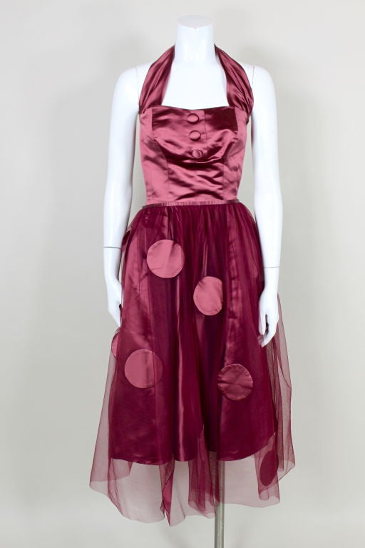 1950's Burgundy Satin Halter Dress with Tulle Overlay 2