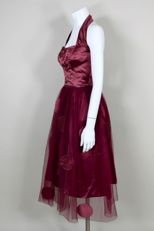 1950's Burgundy Satin Halter Dress with Tulle Overlay 3