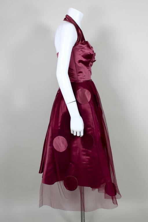 1950's Burgundy Satin Halter Dress with Tulle Overlay 4