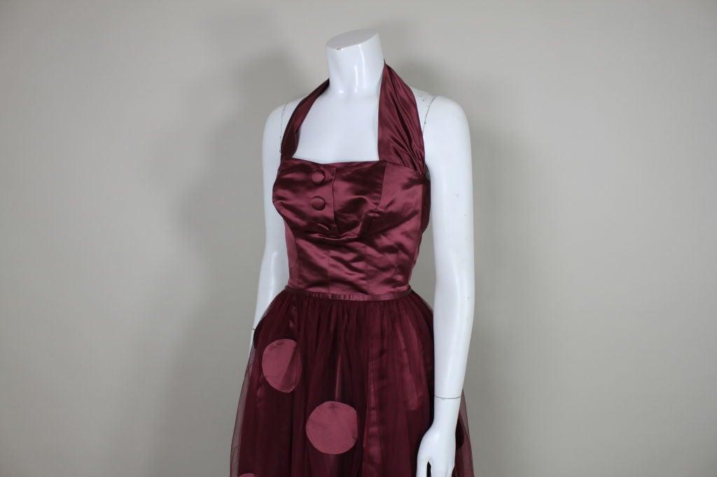 1950's Burgundy Satin Halter Dress with Tulle Overlay 5