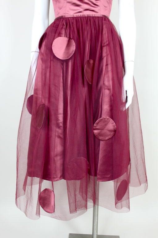 1950's Burgundy Satin Halter Dress with Tulle Overlay 7