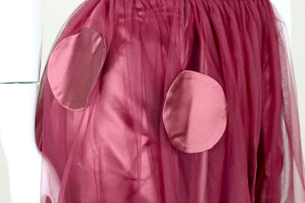 1950's Burgundy Satin Halter Dress with Tulle Overlay 9