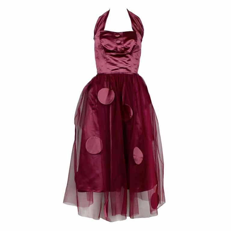 1950's Burgundy Satin Halter Dress with Tulle Overlay 1