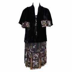 1920s Art Deco Beaded Party Dress with Silk Velvet Jacket