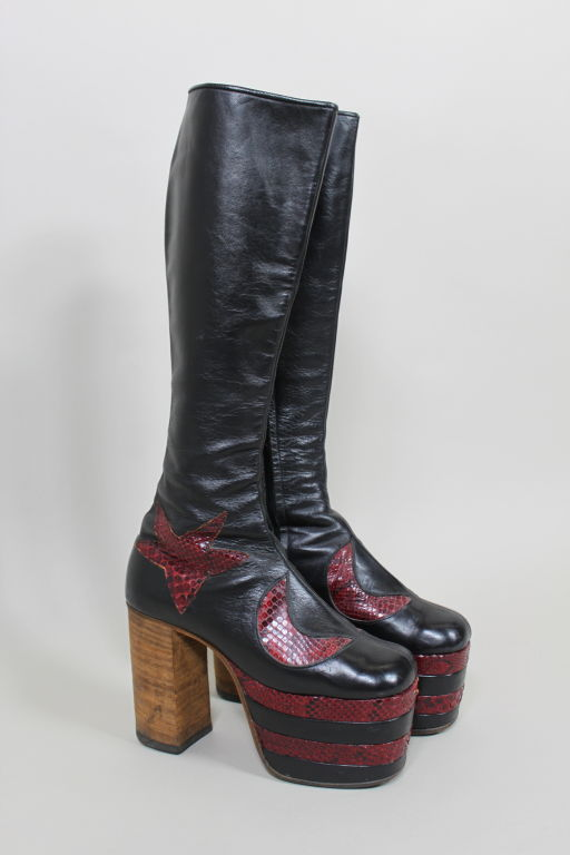1970s Glam Rock Platform Leather David Bowie Style Boots