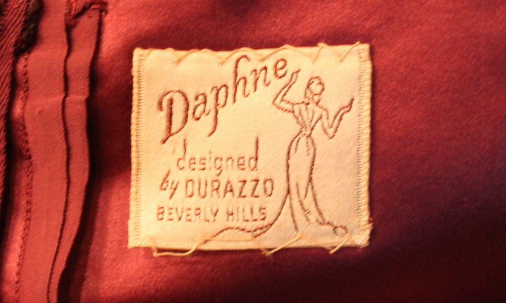 1950's Burgundy Satin Halter Dress with Tulle Overlay 10