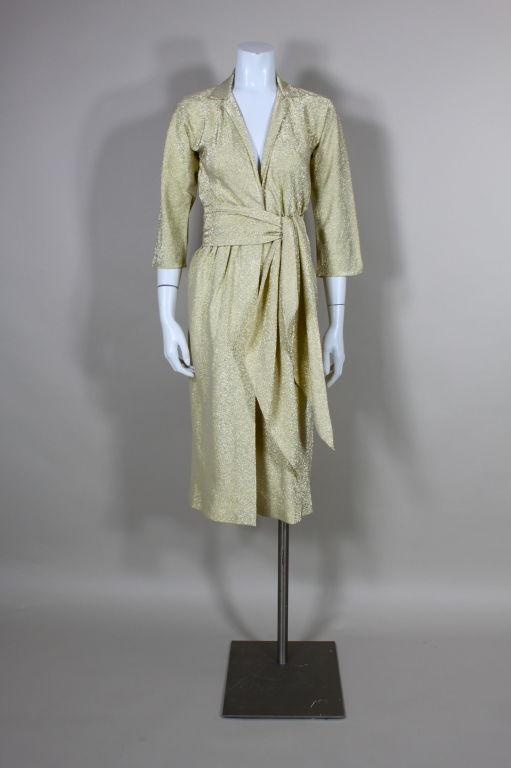 Halston Lurex And Silk Gold Wrap Dress At 1stdibs
