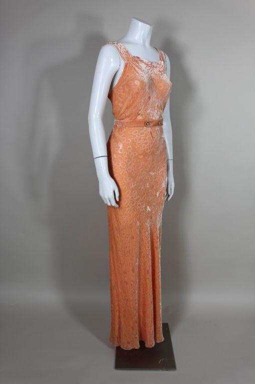 1930's Peach Burnout Silk Velvet Gown 3